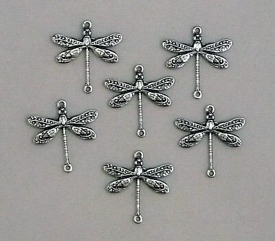 #2001 SM ANTIQUED SS/P CONNECTOR DRAGONFLY W/2 RINGS - 6 Pc Lot