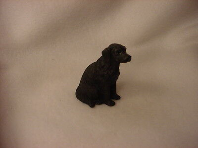 FLAT COATED RETRIEVER black puppy TiNY Dog FIGURINE Resin MINIATURE Mini Statue