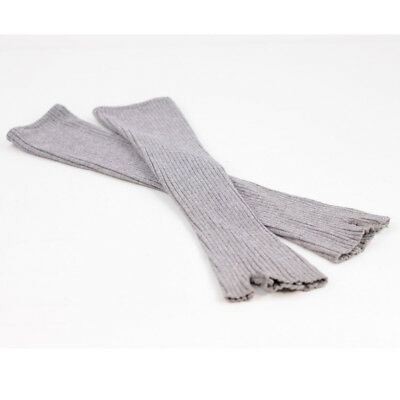 Italian Grey Ribbed Knit Wool Opera Long Fingerless Gloves