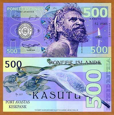 Poneet Islands, 500 Kasutu, 2015, Private Issue POLYMER, UNC