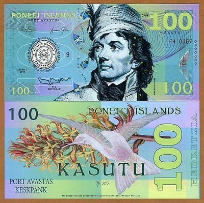 Poneet Islands, 100 Kasutu, 2015, Private Issue, POLYMER, UNC