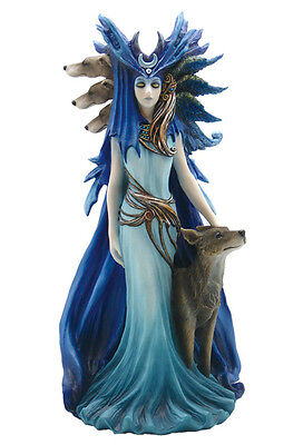 Hecate Hekate Triple Goddess with Hound & Wolf Pagan Wiccan Statue #WU75183AA