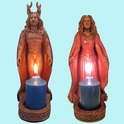 Horned God and Moon Goddess Pagan Altar Statues Shrine by Mickie Mueller #HGVMGV
