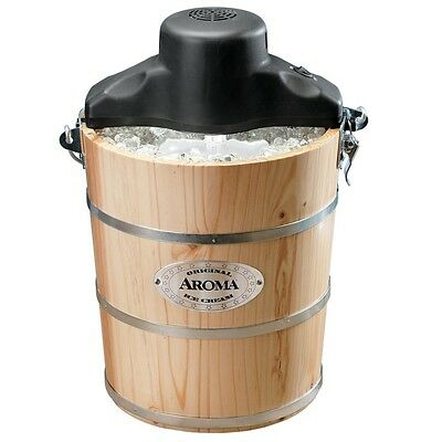 Aroma 6 Quart Wood-Barrel Traditional Ice Cream Maker AIC206EM In Natural Finish
