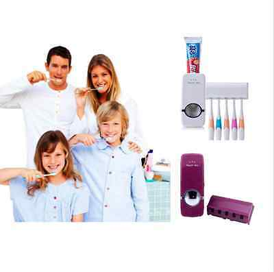 Wall Mount Rack Stand Automatic Toothpaste Dispenser+5 Toothbrush Holder Set