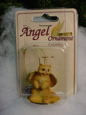 RED PERSIAN Kitty CAT ANGEL ORNAMENT Figurine statue NEW Christmas orange kitten