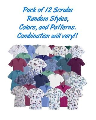 Scrub Shirts 12/pk No Choice of: Color Pattern Style Combination May have Logos