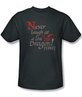 The Hobbit Never Laugh At A Live Dragon Quote T-Shirt, Lord of the Rings XXL NEW