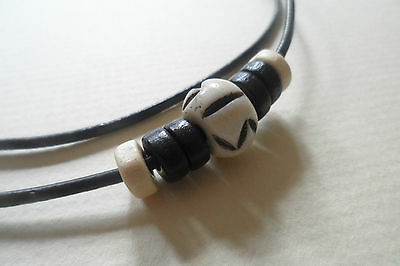 Black Leather Surf/Surfer Necklace Bone and Wooden Bead Adjustable