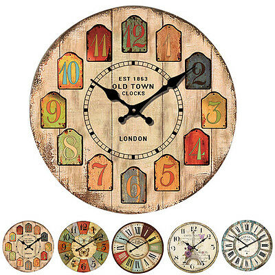 European Style Vintage Creative Round Wood Wall Clock Quartz Bracket Clock Décor