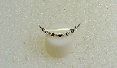 14 K Yellow Gold Sapphire & Pearl Pin/Brooch/Crown Design/.42 TCW N118-K