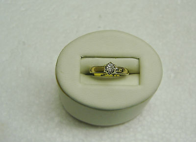 14K Yellow & White Two-Toned Gold .10 Ct Tw Diamond Solitaire Ring Size 3 G35-G