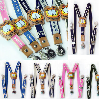 Boy Girls Kids Toddler Clip-On Suspender Elastic Adjustable Brace Garfield Child