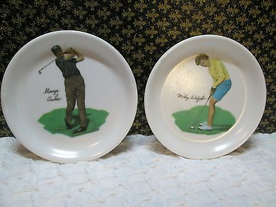 Vintage Melamine Golf Theme Coasters Sports Bar  Set Of 2