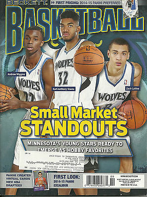 Beckett Basketball Card Monthly Price Guide Sept 2015 T'wolves Rc.s Cover