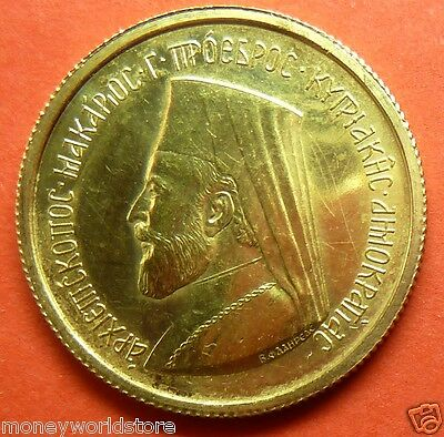 BEST EVER!! Gold Proof Half Sovereign Coin 1966 Cyprus Makarios 3.994g ,GB,UK