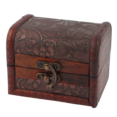 Metal Buckle Vintage Style Wooden Trinket Storage Jewelry Box Beads Ring Case