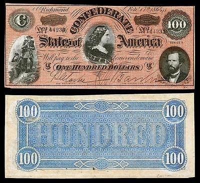 Unc. 1864 $100 Confedrate State Of America Banknote Copy! Please Read Descr