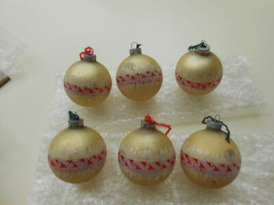Vintage Antique Christmas Ornaments,  Lot of Six Shiny Brite , Made in USA Lot#2