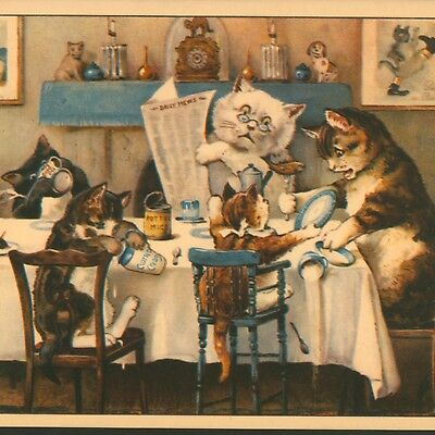 G. H. Thompson....cat Family At Dinner,kittens Act Up,anniversary Greeting Card