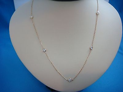 """1 Ct 7 Stations """"diamond By The Yard"""" 14K Yellow Gold Necklace, 18 Inch Long"""