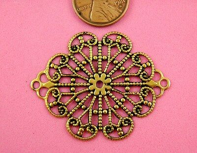 Vint Design Ant Brass Large 2 Ringed Filigree - 1 Pc