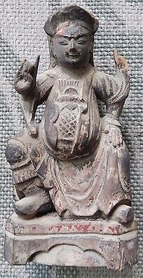 Chinese Wooden Statue of Seated Figure (Chien Lung | Sea Horse)