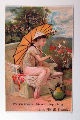 D.H. Poter Saratoga Star Spring Girl sitting on a bench Trade Card