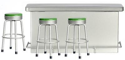Dolls House Miniature Pub Bar Kitchen Furniture 1950's Retro Counter with Stools