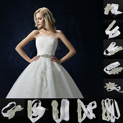 Rhinestone Applique Trim Chain Bow Waistband Dress Bridal Belt Ribbon Hairband