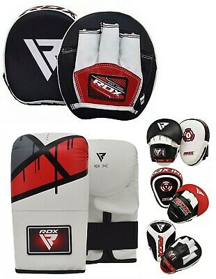 RDX Curved Focus Pads Mitts With Boxing Gloves Hook and Jab Punch Bag Kick MMA