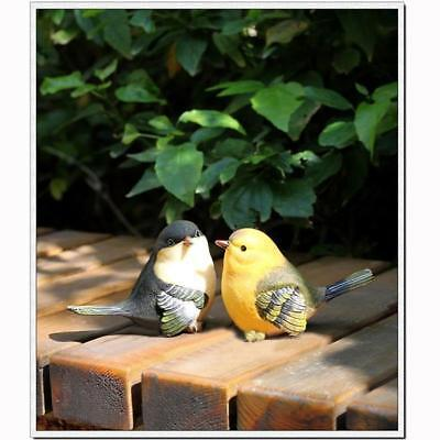 Pair Lifelike Resin Bird for Toy Desk Home Garden Ornaments Decoration