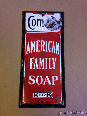 """Antique Porcelain American Family Soap Kirk Advertising Sign Push Plate 9"""" X 4"""""""