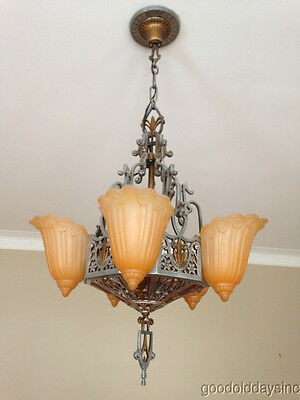 Antqiue Art Deco Slip Shade Chandelier Lincoln Lightning Company