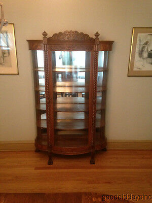 Antique Carved Quarter Sawn Oak Curved Glass China Cabinet