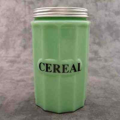 JADEITE GREEN GLASS TALL CEREAL CANISTER w/ Metal Lid ~COLUMN DESIGN~
