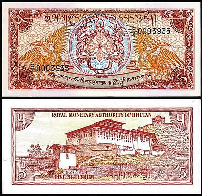 Bhutan 5 Ngultrum 1985 1990 Unc Dragon Dzong P 14B Sign 3 C/4 Low Serial 000****