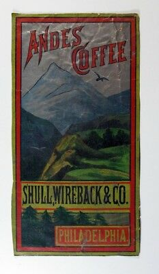 Lable Shull, Wireback Co. Andes Coffee Mountain scene Vintage Trade Ad Card