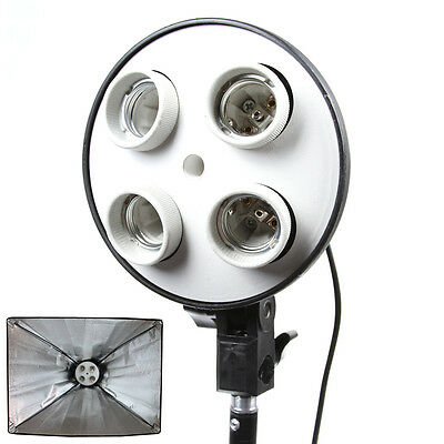 E27 4 in 1 Bulb Socket Photo Studio Light Lamp Softbox Umbrella Bracket Holder