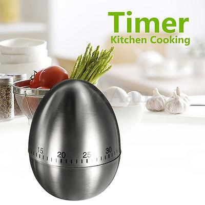 Egg Kitchen Cooking Countdown 60 Minutes Mechanical Alarm Stainless Steel Timer