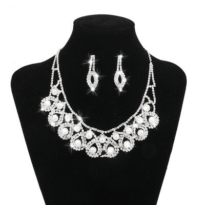 Silver Crystal Diamante Pearl Necklace Earring Set Bridal Wedding Dress Decor