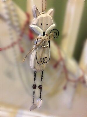 Wooden Hanging Fox Christmas Decoration Wire Bells Chain 31cm Shabby Chic