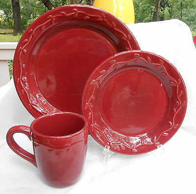 Home & Garden Party Country Garden Burgundy Vines Dinnerware Plate Dinner 12 Pc