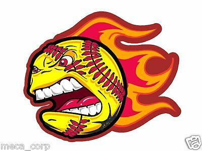 Customized 4in Crazy Softball with Flames Helmet Decal- Left