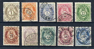 NORWAY 1877 Posthorn set of 10, fine used.
