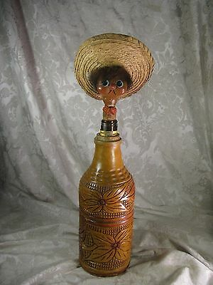 Vintage Mexican Wood & Glass Decanter Hand Carved