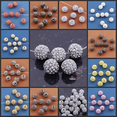 Lots 20Pcs Czech Rhinestones Disco Ball Loose Spacer Beads Jewelry Finding 7mm