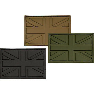 Rubber PVC Velcro Union Jack Patch British Army Military Badge UK Flag Subdued
