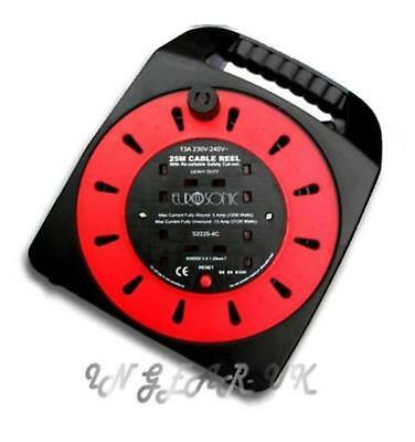 Long Mains Extension lead 240v 25M cable reel 4 sockets electrical household