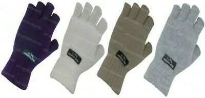 Adults Ladies Thermal Fingerless Lined Gloves Knitted Thinsulate Insulation